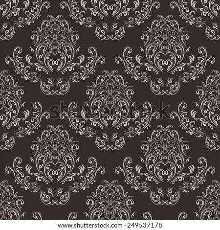 Seamless damask floral Wallpaper in dark colors. Raster version. - stock photo