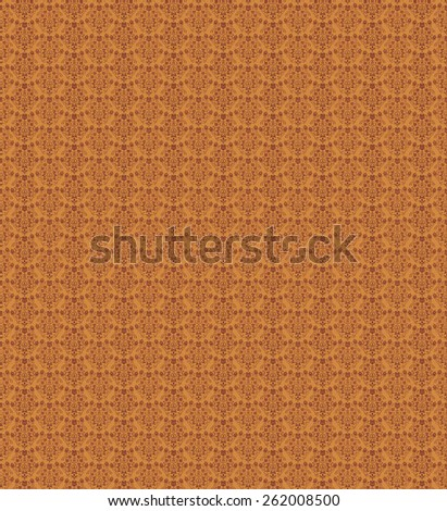 Seamless Damask Floral Wallpaper Pattern in orange and brown - stock photo