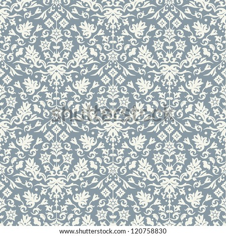 Seamless damask pattern for background design. Vector file in my portfolio. - stock photo
