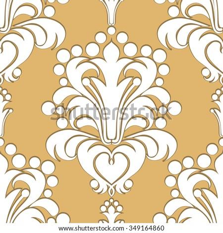 Seamless damask Pattern with volumetric Ornament. Raster version. - stock photo