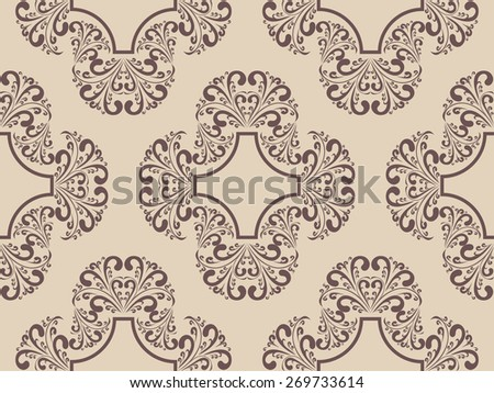 Seamless damask retro Pattern. Raster version. - stock photo