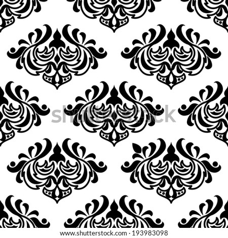 Seamless damask-style floral pattern with foliate arabesques in black and white. Vector version also available in gallery - stock photo
