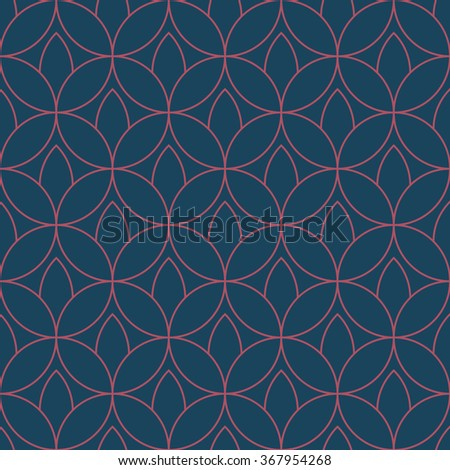 Seamless dark blue and burgundy floral outline fashion textile pattern