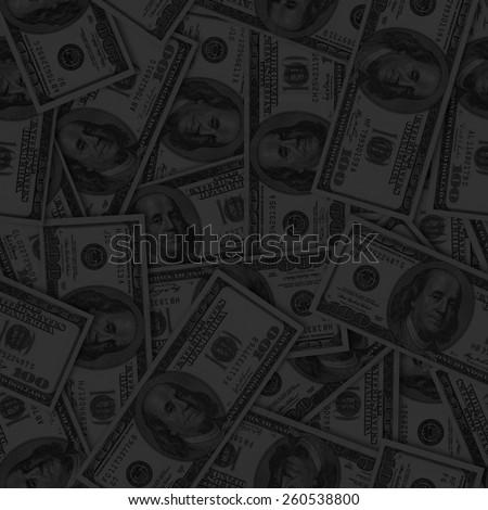 Seamless dark dollars background. - stock photo
