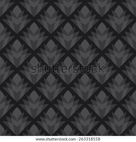 Seamless dark gray vintage diamond floral pattern - stock photo