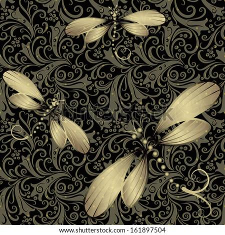 Seamless dark vintage pattern with translucent gold dragonflies  - stock photo