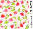 Seamless decorative floral pattern with painting flowers. Raster version. Vector is also available in my gallery - stock photo