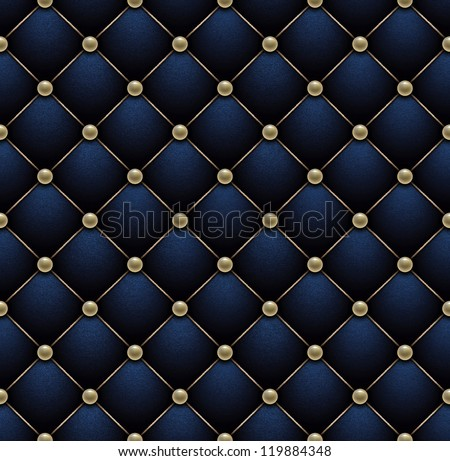 Seamless deep blue velvet embroidered by pearl grid. - stock photo