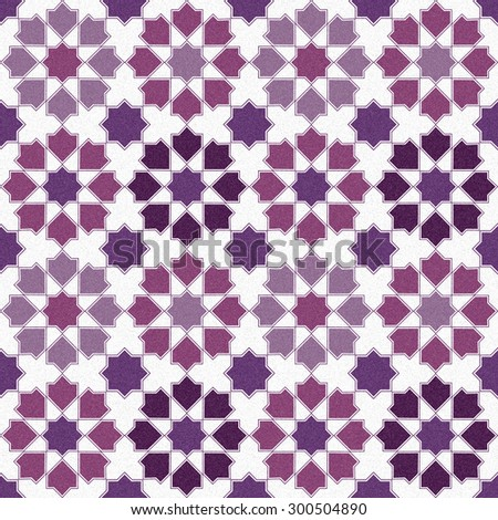Seamless design mosaic of colorful tiles pattern in purple pink white and black. - stock photo