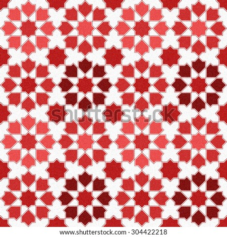 Seamless design mosaic of colorful tiles pattern in red and white. - stock photo