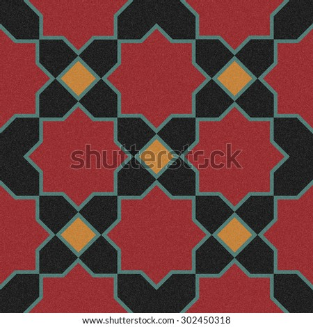 Seamless design mosaic of colorful tiles pattern in red yellow blue and black. - stock photo