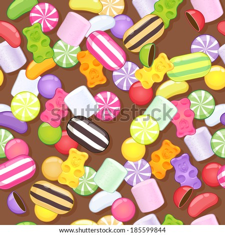 Seamless different sweets pattern. Assorted candies on brown background. Raster version. - stock photo