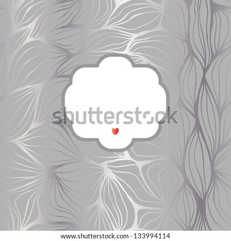 Seamless doodle abstract ripples background with a frame. Raster. - stock photo