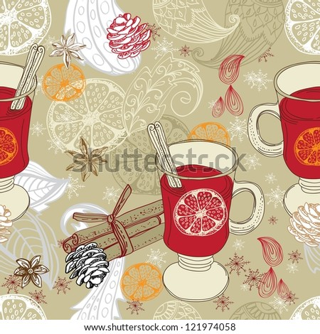 Seamless doodle background with mulled warm wine and floral elements for design - stock photo