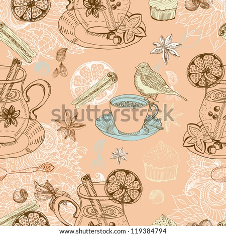 Seamless doodle background with mulled warm wine, tea cup, bird - stock photo