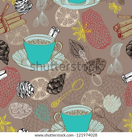 Seamless doodle background with tea and decorative elements for design - stock photo
