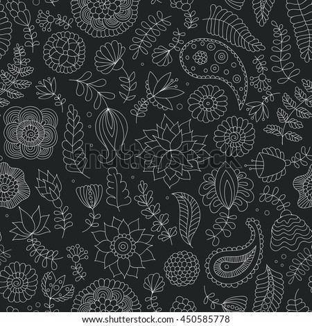 Seamless doodle black and white pattern with flowers