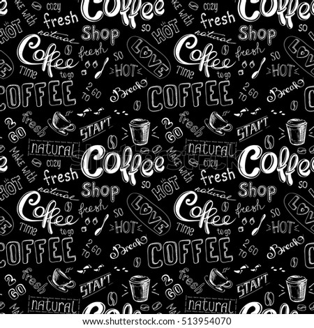 seamless doodle coffee pattern on black background ,hand drawn  illustration