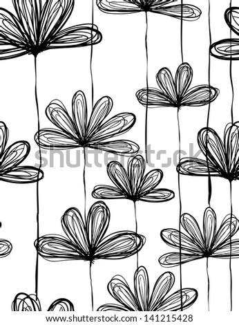 Seamless doodle floral pattern. Raster. - stock photo