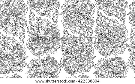 Seamless doodle flower background in  with doodles, flowers. Circles ethnic floral pattern. Good for coloring book for adult and older children. Coloring page.  - stock photo