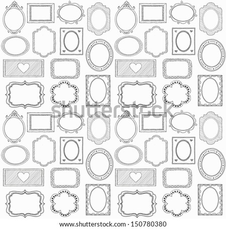 Seamless doodle frame set. . In my portfolio there is vector version of this illustration.  - stock photo
