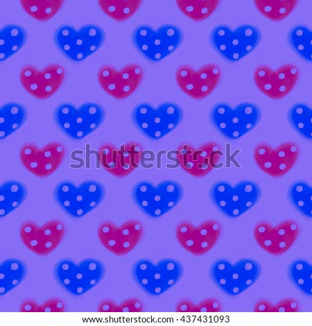 Seamless drawn pattern. Watercolor background with hand drawn hearts with dots. Series of Watercolor Seamless Patterns, Backgrounds.