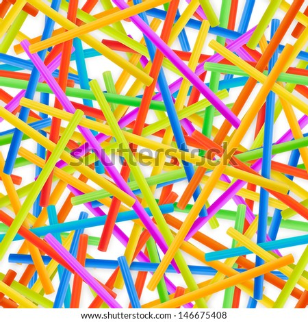 Seamless drinking straw background pattern of colorful plastic tubes over white - stock photo