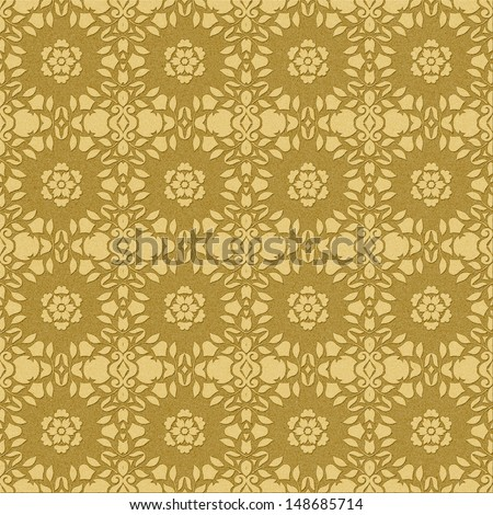 Seamless Embossed Antique Gold Pattern - stock photo