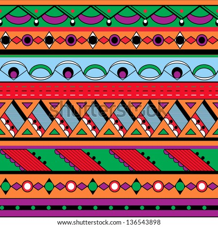 Seamless ethnic background. Mexican, african endless pattern