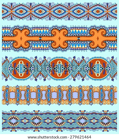 seamless ethnic floral paisley stripe pattern, border set, ukrainian tribal ornament for print or embroidery ribbon, or for the design of polygraphy in blue color, raster version - stock photo