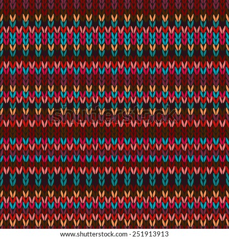 Seamless Ethnic Geometric Knitted Pattern. Style Red Blue Orange Brown Yellow Background