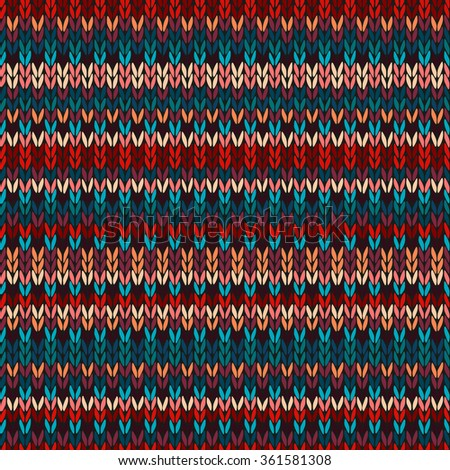 Seamless Ethnic Geometric Knitted Pattern. Style Red Blue Orange Brown Yellow Background - stock photo