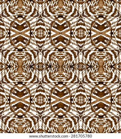 seamless ethnic pattern, looks like an animal skin print. symmetrical geometric shapes, earth colors, stripes and spots. allover tribal boho design for fashion or interior. - stock photo