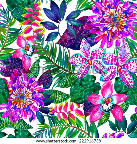 seamless exotic flora watercolor fashion pattern.  - stock photo