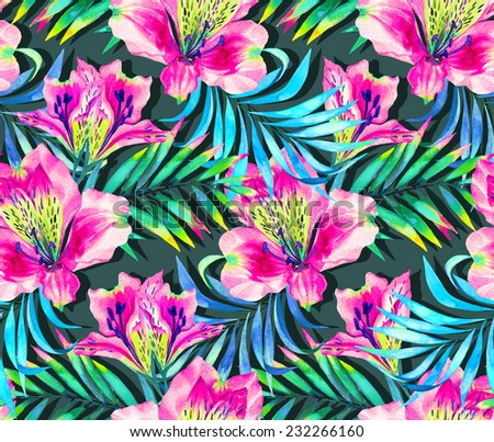 seamless exotic floral pattern with palms and alstroemeria orchid. - stock photo