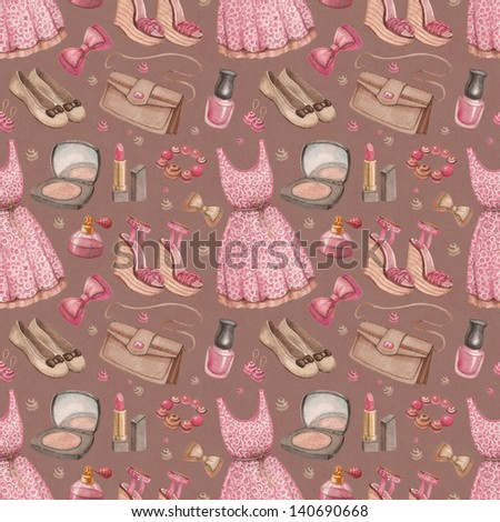 Seamless fashion pattern. Watercolor dresses and accessories - stock photo