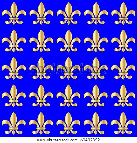 Seamless Fleur de Lis on a blue background - stock photo
