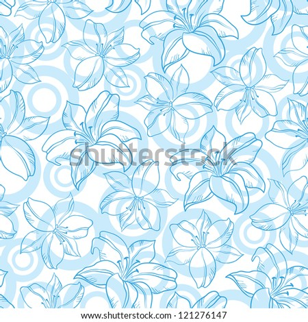 Seamless floral background, blue silhouette lily flowers and circles on white.