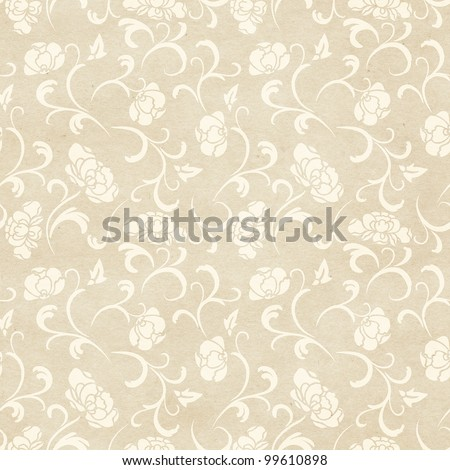 Seamless floral background. Delicate lace-like pattern on paper texture