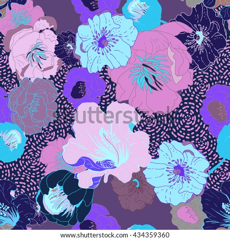 Seamless floral  background. Isolated flowers on geometric background