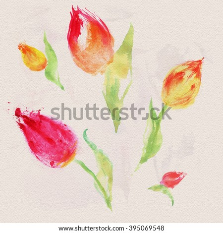 Seamless floral background of beautiful tulips. Painted by hand. Watercolor. Spring flowers - stock photo