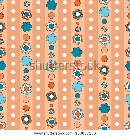 seamless floral background pattern with stripes and polka dots  - stock photo