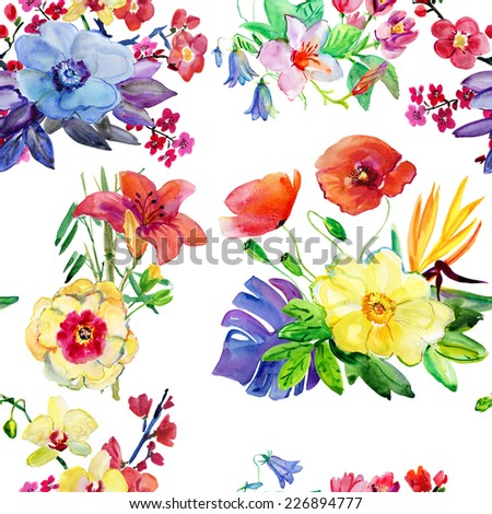 Seamless floral background with flowers. Hand painted watercolor painting.