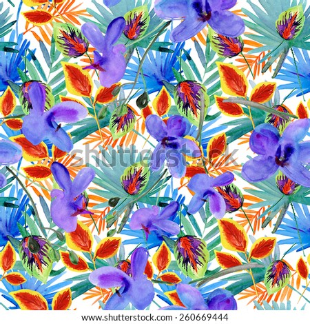 Seamless floral background with tropical flowers and leaves. Hand painted watercolor painting.