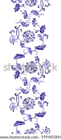 Seamless floral border frame with asian flowers (china). Watercolour strip - stock photo