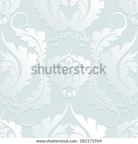 Seamless Floral 3d pattern Damascus. Elegant large flowers on a light background. Can be used to design fabrics, wallpaper, web page background. Rasterized version. - stock photo