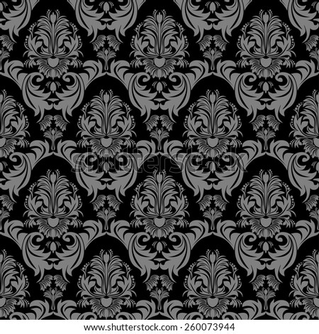 Seamless floral damask ornate Wallpaper for design. Raster version. - stock photo