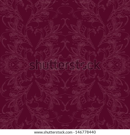 Seamless floral dark vinous pattern in rococo style. - stock photo