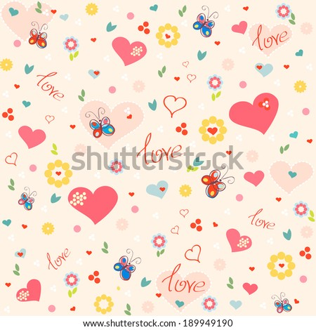 Seamless floral end hearts background. Vintage iIlustration