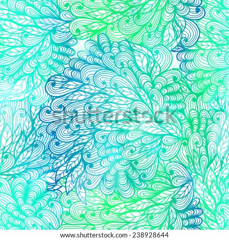 Seamless floral grunge  green gradient pattern